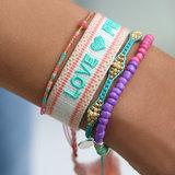 Geweven armband love & peace_