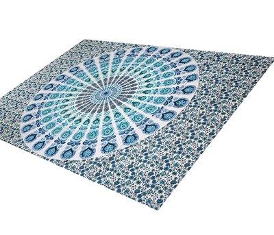 White/turquoise Mandala towel