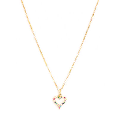 Ketting Heart strass gold