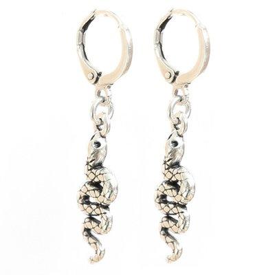 Oorbel - Snake silver