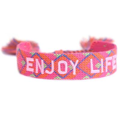 Geweven armbandje Enjoy life