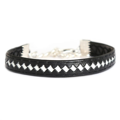 Armband leather black white