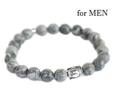 Buddha armband Grey gemstone for Men