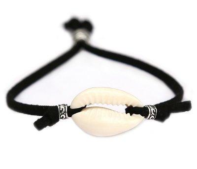Schelp armbandje beach zwart