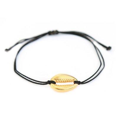 Muschelarmband schwarz & gold