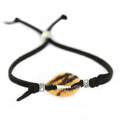 Schelp armbandje Animal zwart