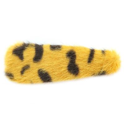 Haarclip faux fur leopard yellow