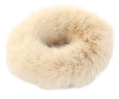 Faux fur scrunchie beige