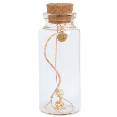 Bracelet in a bottle - Gemstone Ivory/gold