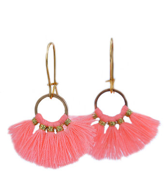 Earrings tassel coral