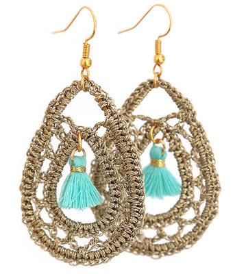 Oorbel crochet turquoise