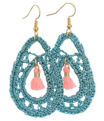 Earrings crochet blue