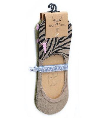 Sneakersokken (pakket van 2 stuks) Olive leopard en Taupe zebra
