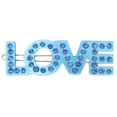 Haarclip Love blue strass