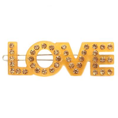 Haarclip love yellow strass