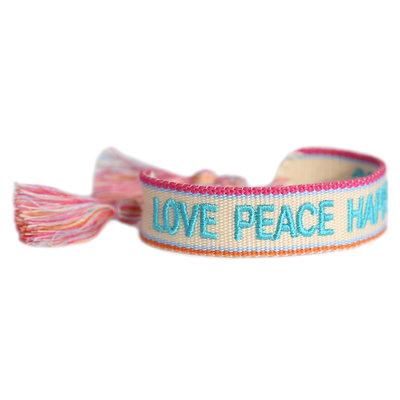 Geweven armband Love Peace Happiness