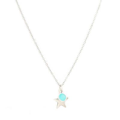 Ketting star blue silver