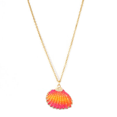 Ketting shell pink orange