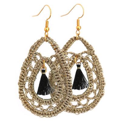 Oorbel Crochet gold/black