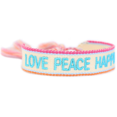 Geweven armband Love Peace Happiness