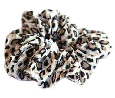 Cotton scrunchie luipaard naturel