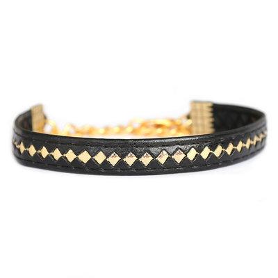Armband leather black gold