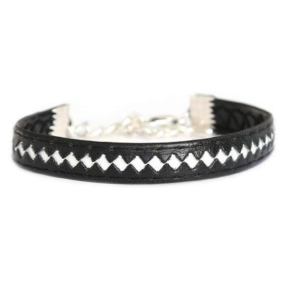 Armband leather black white