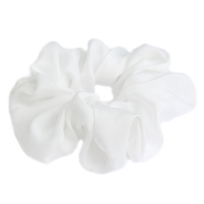 Zijden scrunchie white