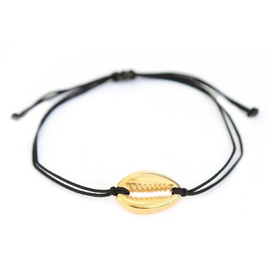 Schelp armbandje zwart & goud