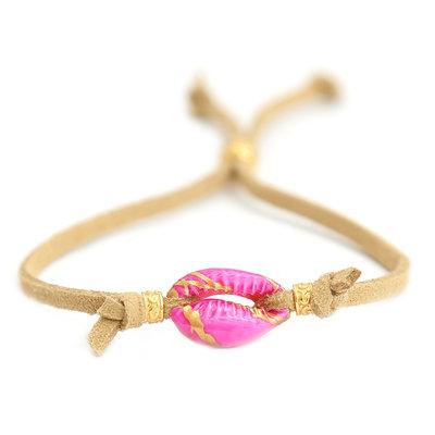 Armband pink shell suède