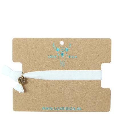 Velvet armbandje - white