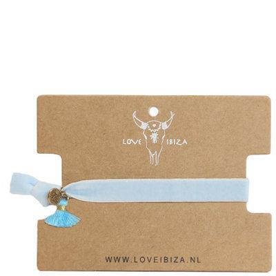 Velvet armbandje - baby blue