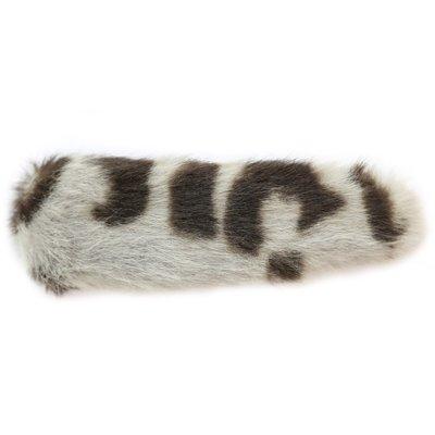 Haarclip faux fur leopard grey