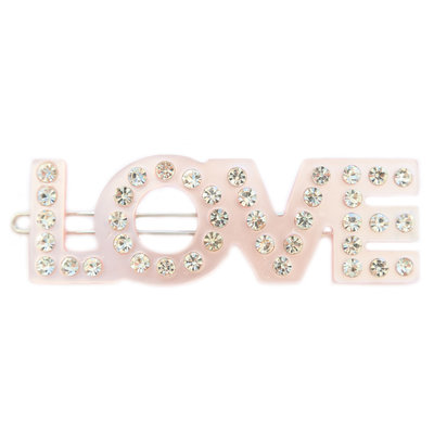 Haarclip love rose strass