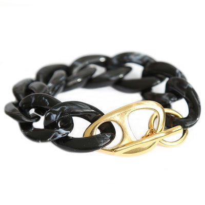 Armband black marble chain gold