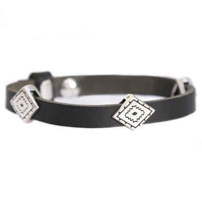 Indian tribe bracelet black (echt leer)