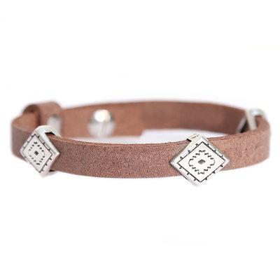 Indian tribe bracelet brown (echt leer)