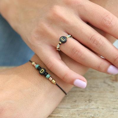 SET - Letter armbandje & letter ring