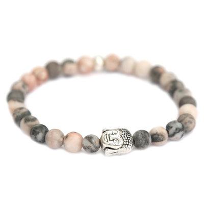 Armband buddha rose grey melee