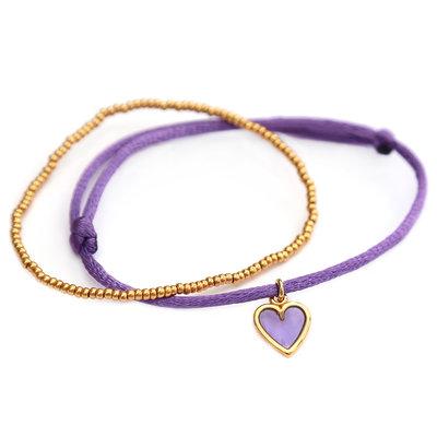 Armbandjes lilac love gold