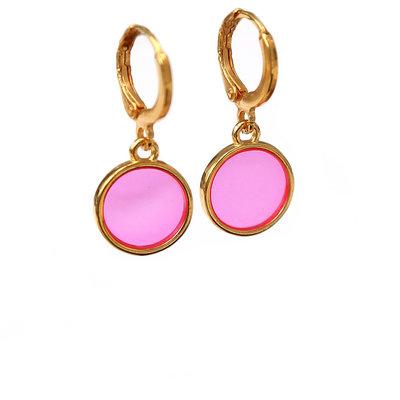 Oorbel glass pink