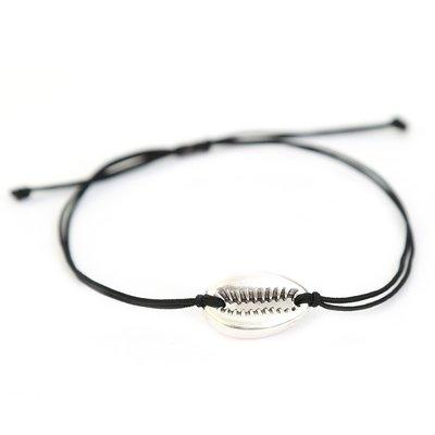 Schelp armbandje zwart & zilver