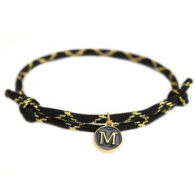 Armband black gold initial