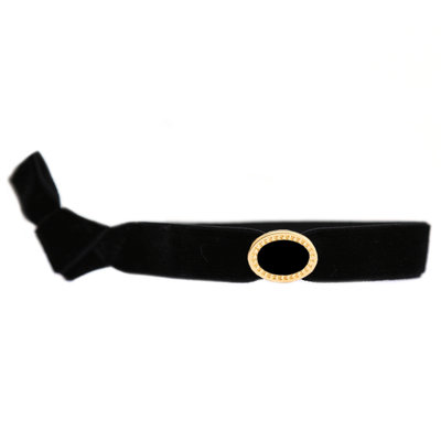 Velvet armbandje charm black gold
