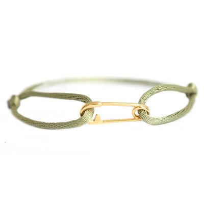 Safety pin bracelet gold olive