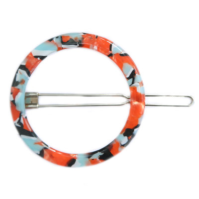 Haarclip round blue red