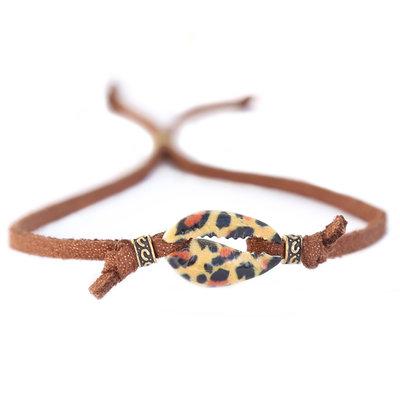Schelp armbandje leopard bruin