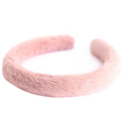 Haarband faux fur roze