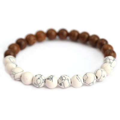 Men bracelet white marble and wood