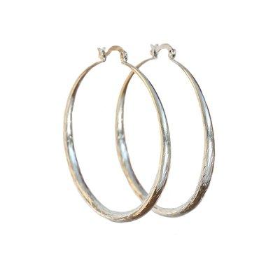 Oorbel -  Bamboo hoops silver